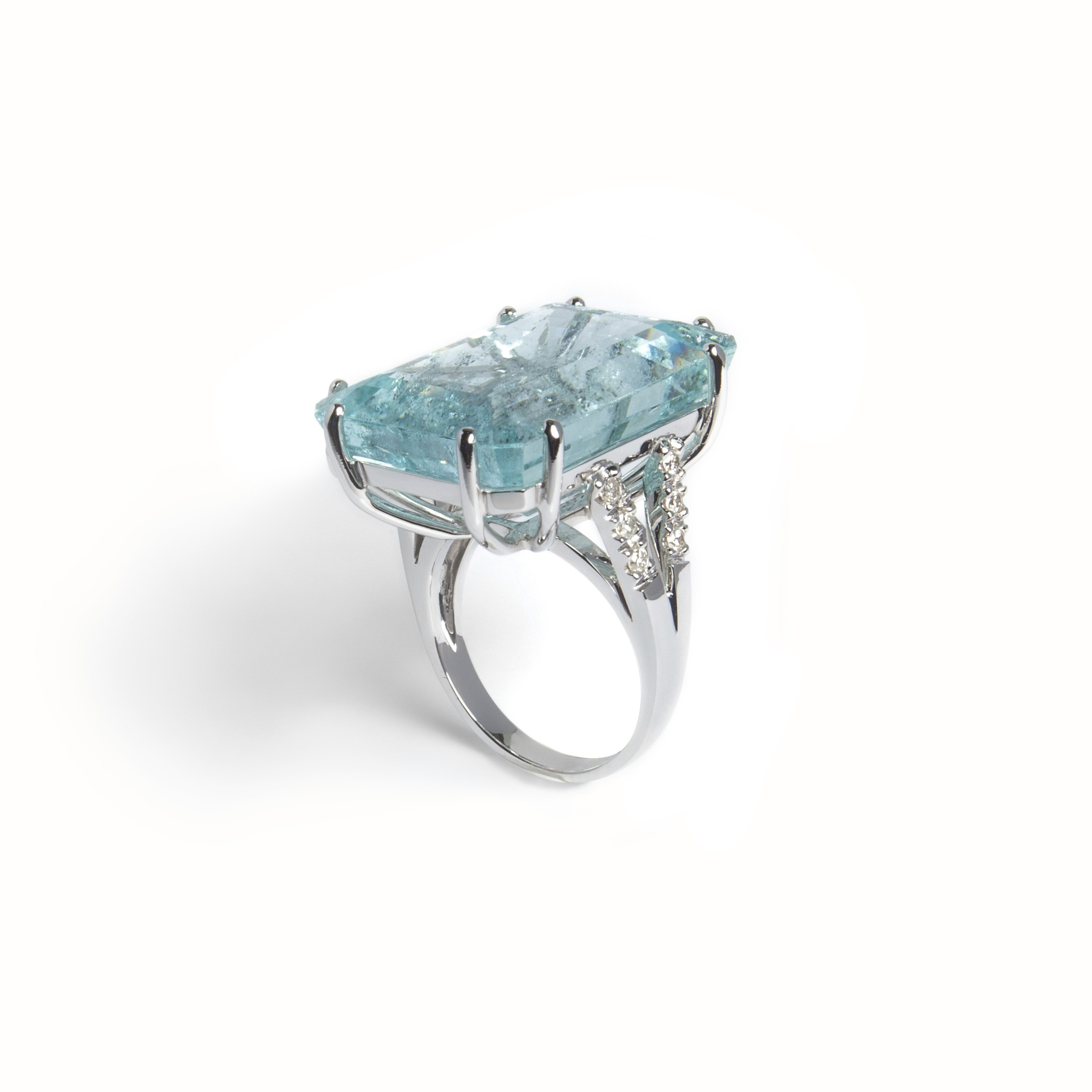 Gold Ring With Diamonds  and Aqua Marine