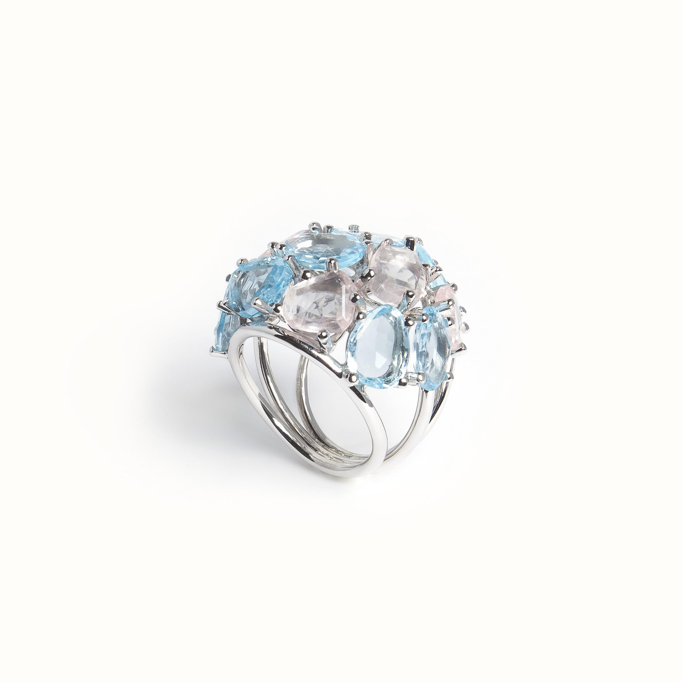 Gold Ring With Aqua Marine and Rose Quartz