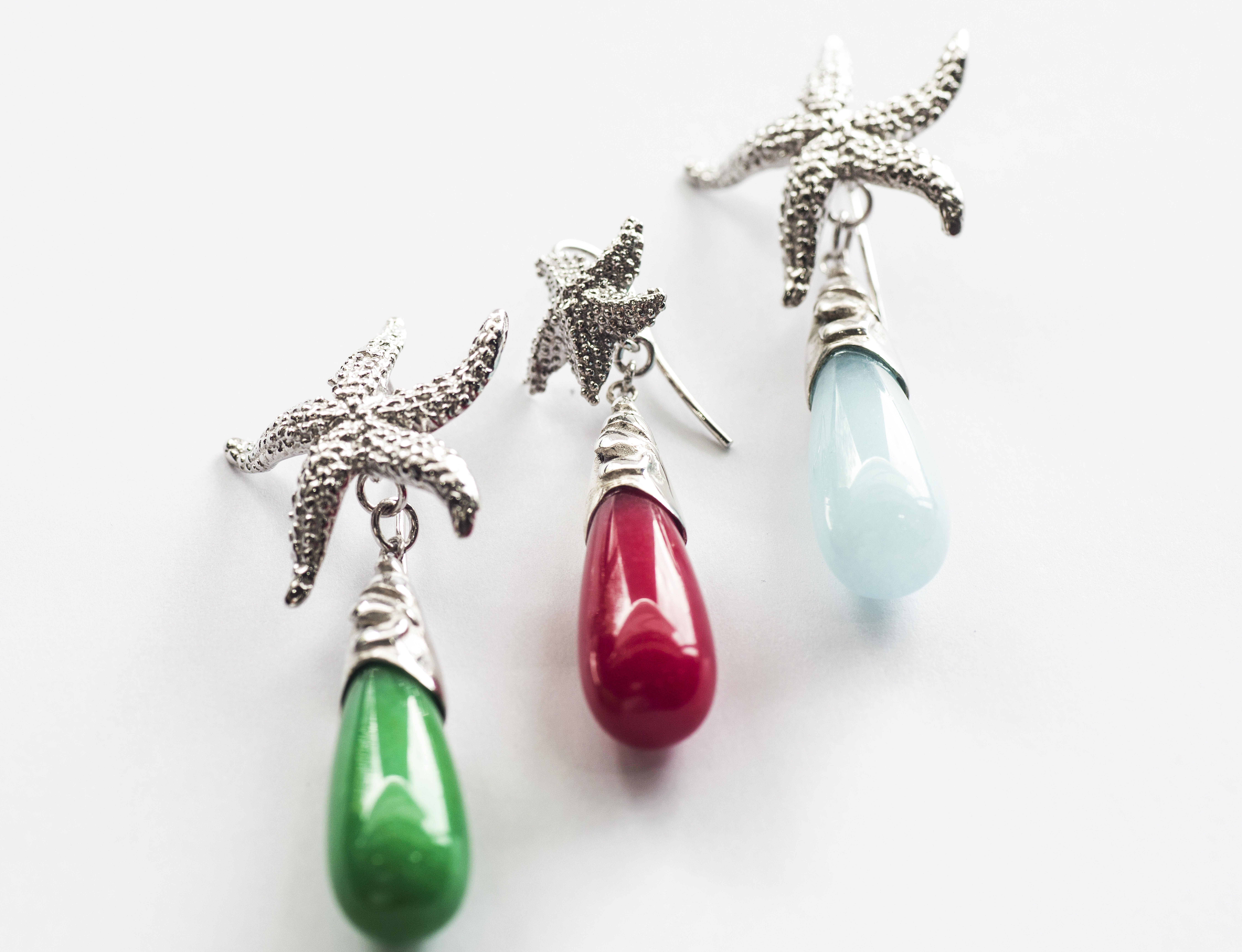 Silver Earrings with Coloured Quatz